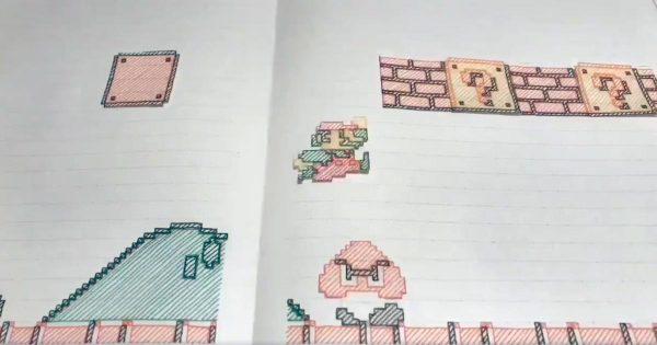ノートに描いたマリオが走り抜ける「スーパーマリオブラザーズ」を手描きで再現した動画がすごいと話題に!