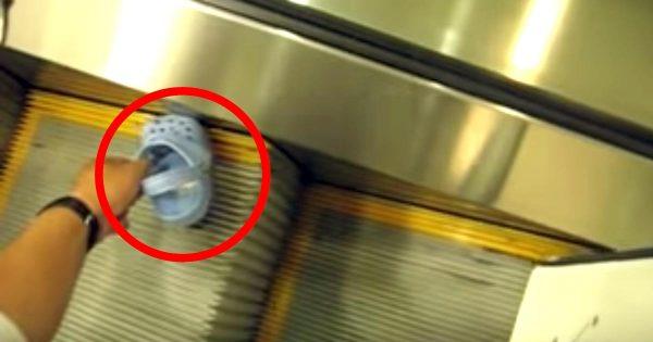 【鳥肌】「クロックス」を履いてエスカレーターに乗るのは危ないということがよくわかる動画に鳥肌!