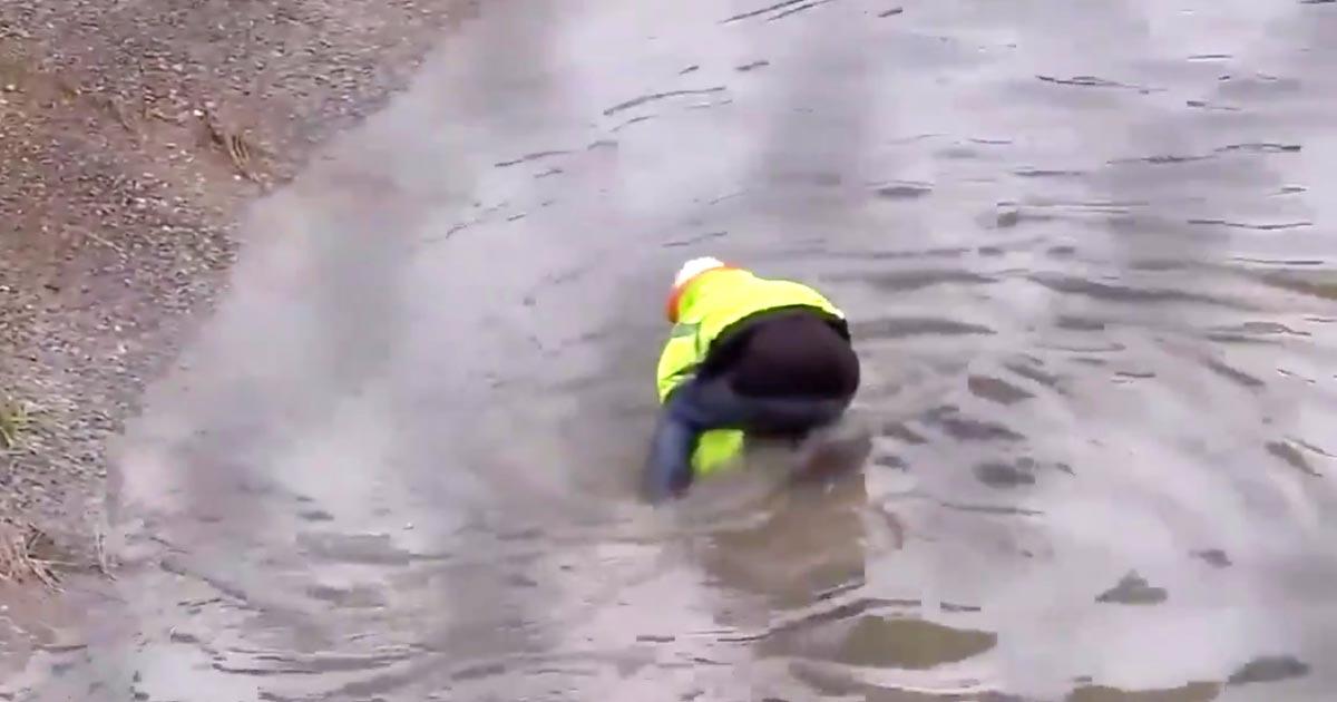 誰も見ていない所にヒーローがいたと話題に!たった一人で高速道路の排水溝の詰まりを直し冠水を防ぐ男性がカッコいい!