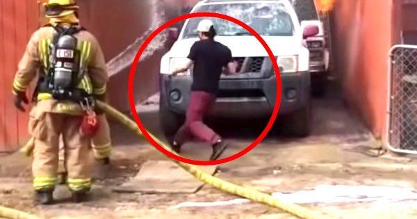 「最愛の友」を助けるために燃え盛る家に突入し救助する男性がヒーローだと話題に!