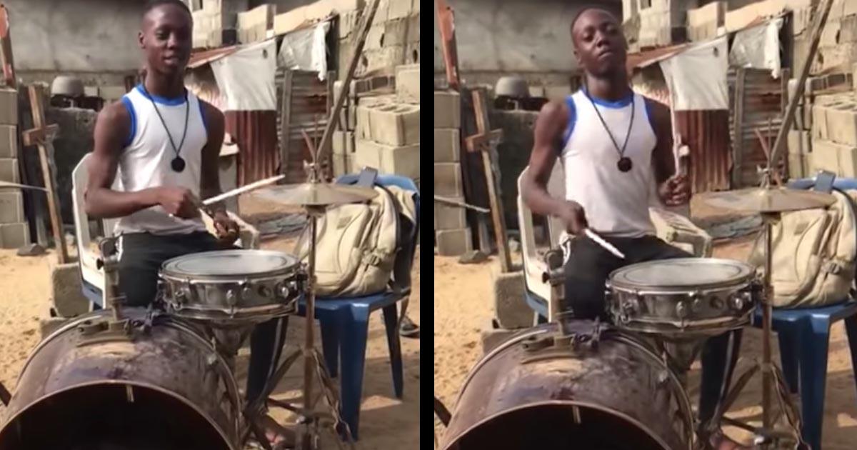 「凄い才能だ!」ボロボロのドラムセットで素晴らしいリズム感で演奏するドラマーがカッコ良すぎると話題に!