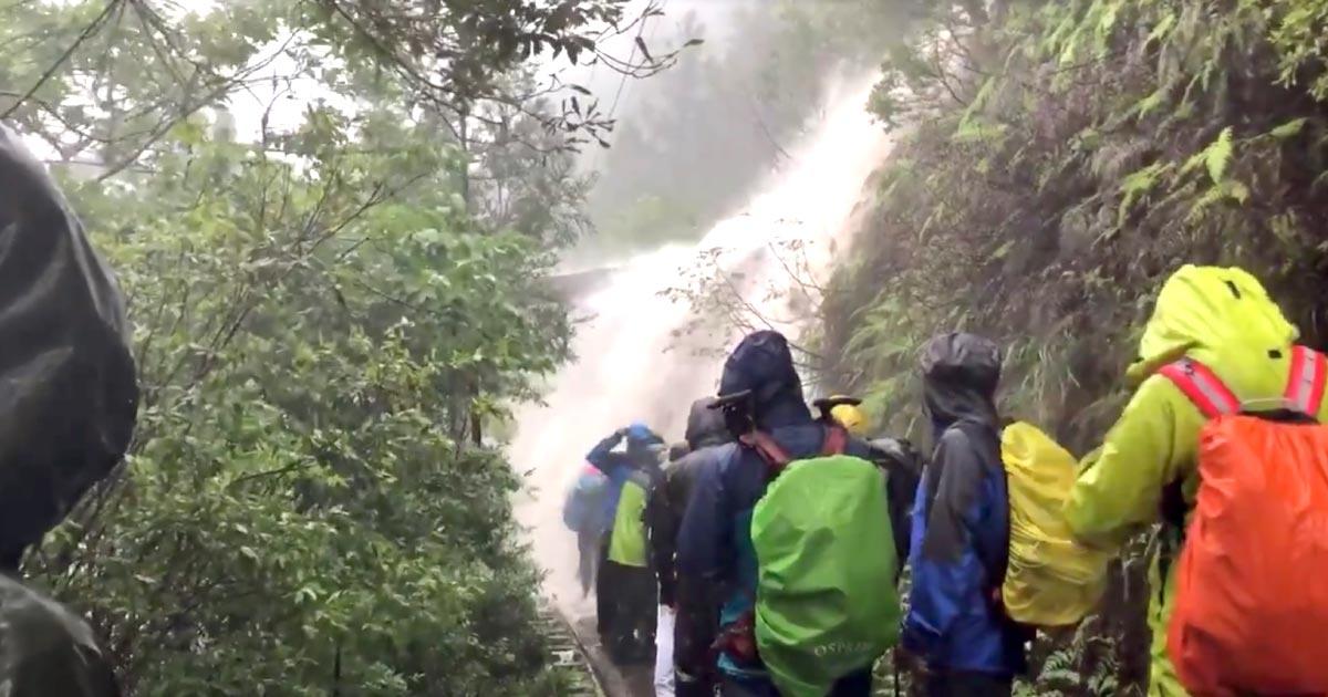 屋久島で50年に一度の大雨!山中に多くの人が取り残され、濁流を突破しないと下山できず、ロープを頼りにガイドがずぶ濡れで一人ずつ対応中!