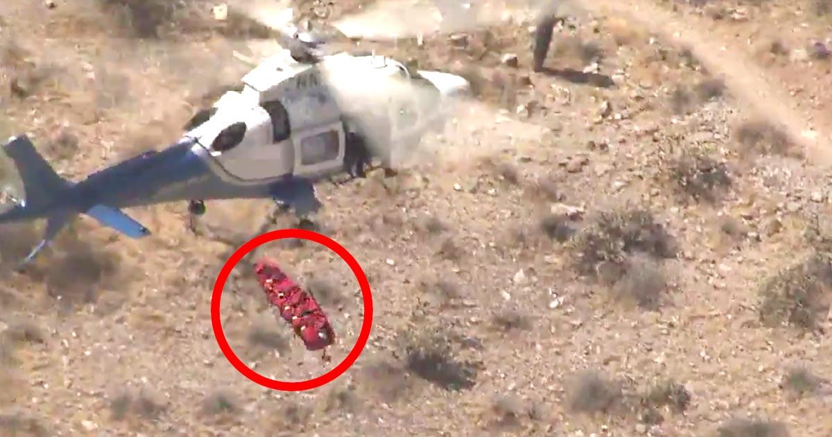 74歳の女性がヘリで救助されたものの、強風でタンカが超高速回転!怖すぎると話題に!