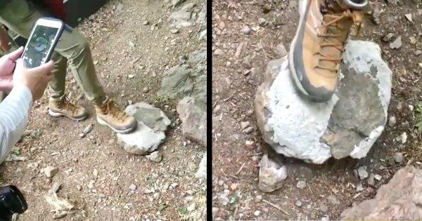 【大岳山】宙に浮いたような不自然な動きをする石が撮影されミステリーだと話題に!