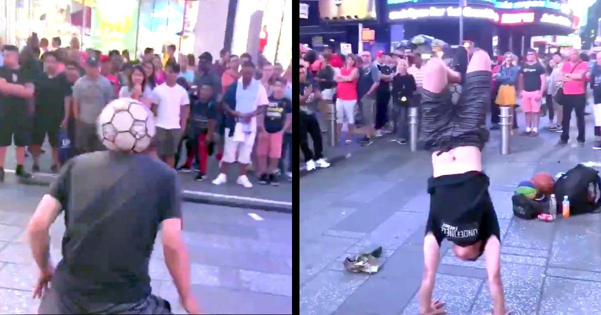 【神業】サッカーボール1つでタイムズスクエアの路上を沸かす日本人青年が話題に!「NYでは厳しいよ」と言われた過去に「適当に無理とかいうやつの言葉98%無視していいや」