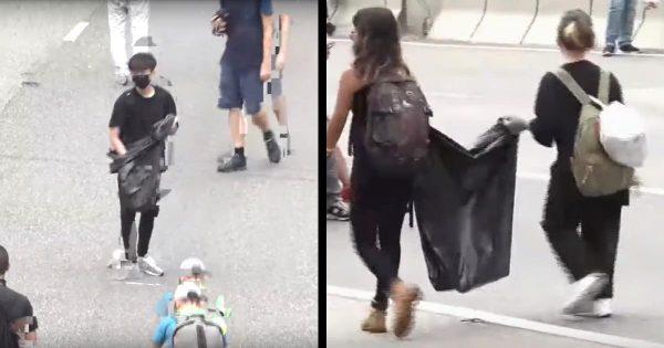 香港のデモ後、路上を清掃する参加者たちの動画に「民度が高い」「尊敬する」と日本からも賞賛の声!