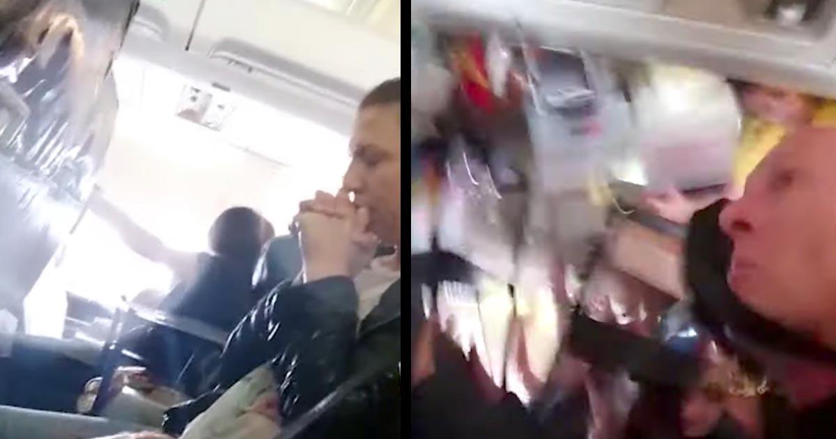 激しすぎる乱気流で飛行機内が悪夢のように!天井に叩きつけられる客室乗務員、飛び散る熱湯