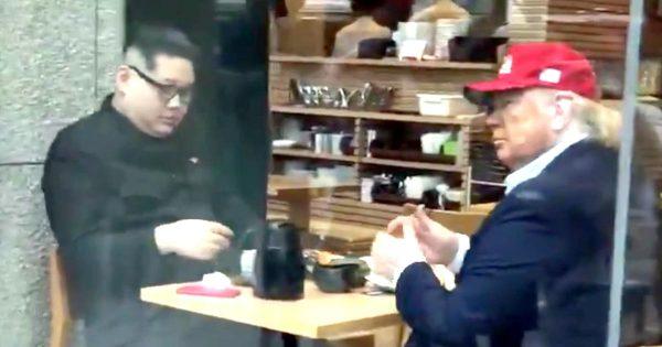 銀座で優雅に金正恩とトランプ大統領がお茶をしていたと話題に!トランプに「手カサカサじゃん!」と気を利かせる金正恩が面白い笑