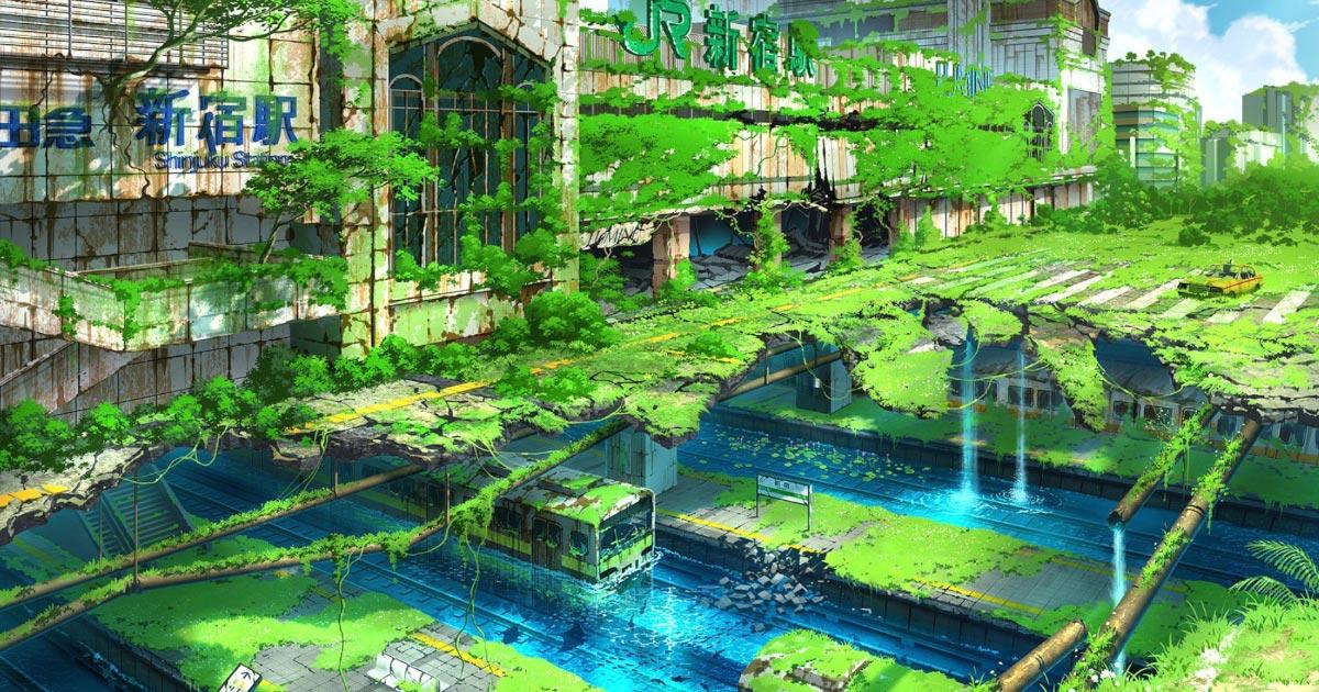 【鳥肌】人類がいなくなった未来のような荒廃した「東京」を描いた幻想的なイラストが話題に!【画像43枚】