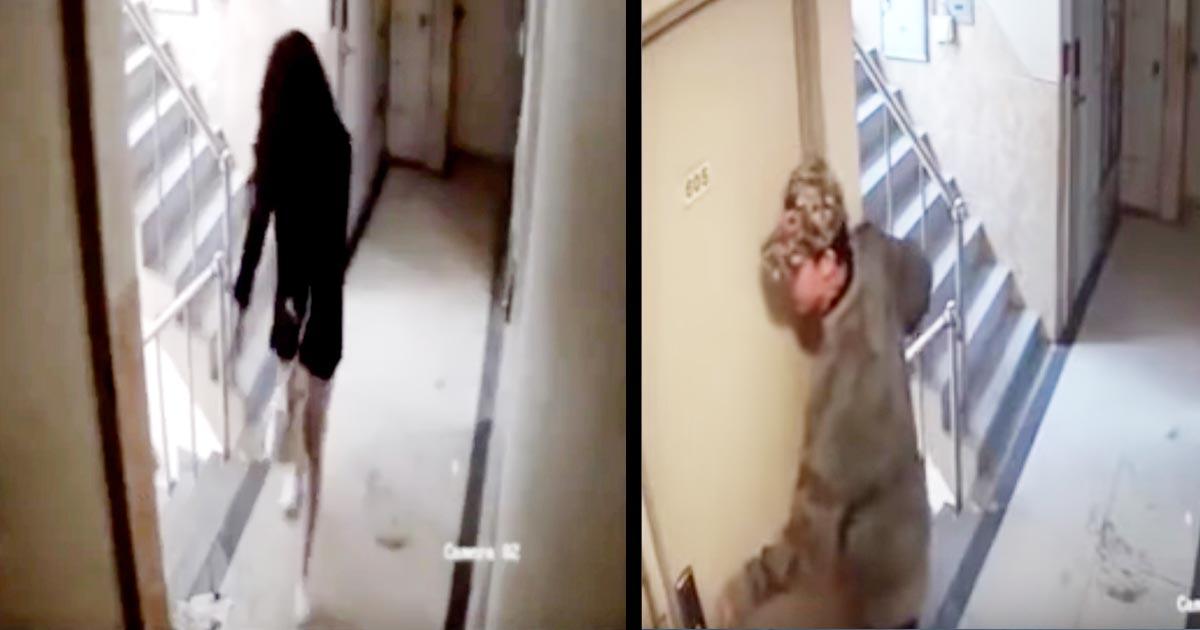 【鳥肌】帰ってきた女性が玄関に入った瞬間、隠れていた男がドアを開けようとする様子が監視カメラに映り話題に!