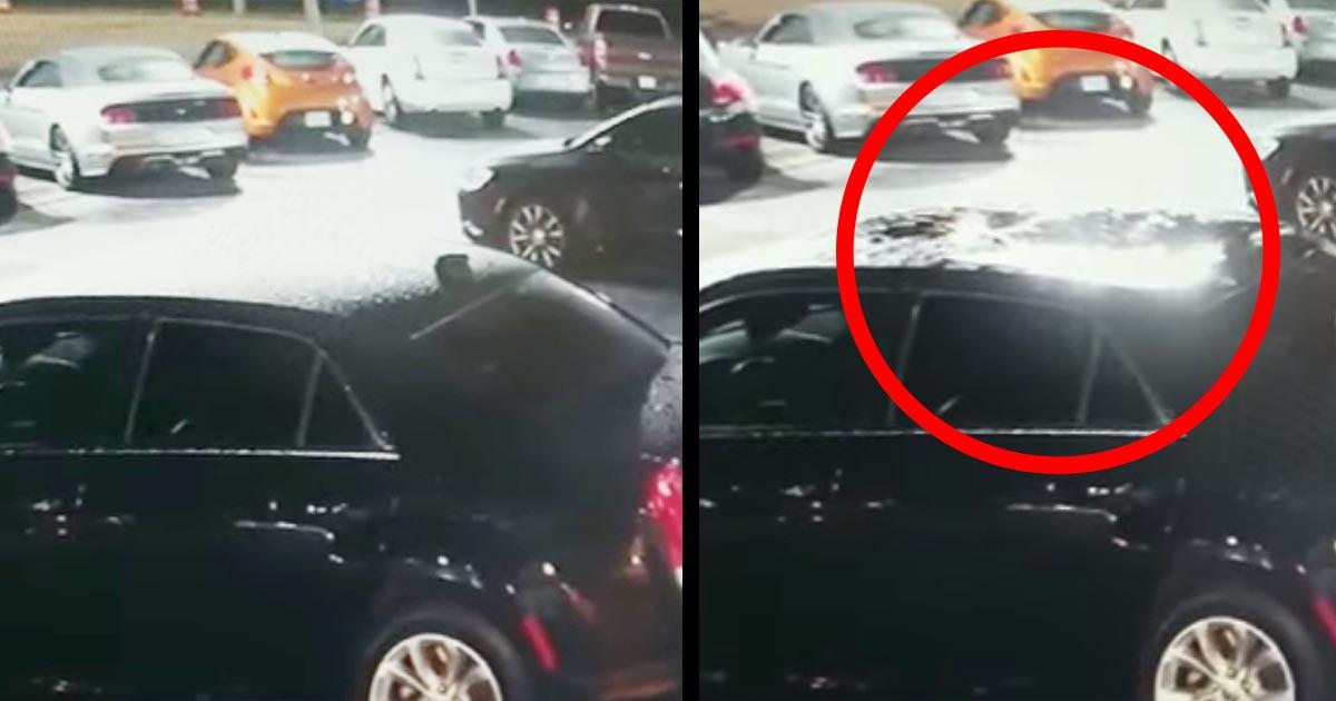 高級車の屋根がヘコんでいたので監視カメラをチェックしたら、すごい事が起きていたと話題に!