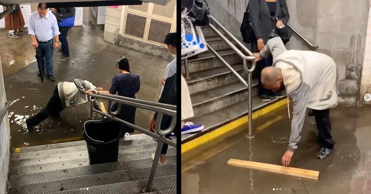 【神対応】雨で冠水した地下鉄、ホームレスの男性が自分は水浸しになりながらやっていた行動が絶賛されアツい展開に!