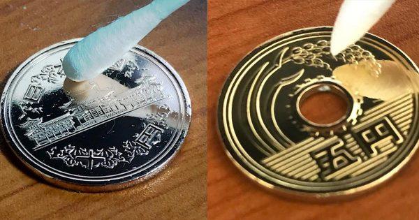 「コインがうれしそう」年季が入り汚れてしまった10円玉や5円玉を、鏡のように極限までピカピカに磨き上げる動画が話題に!