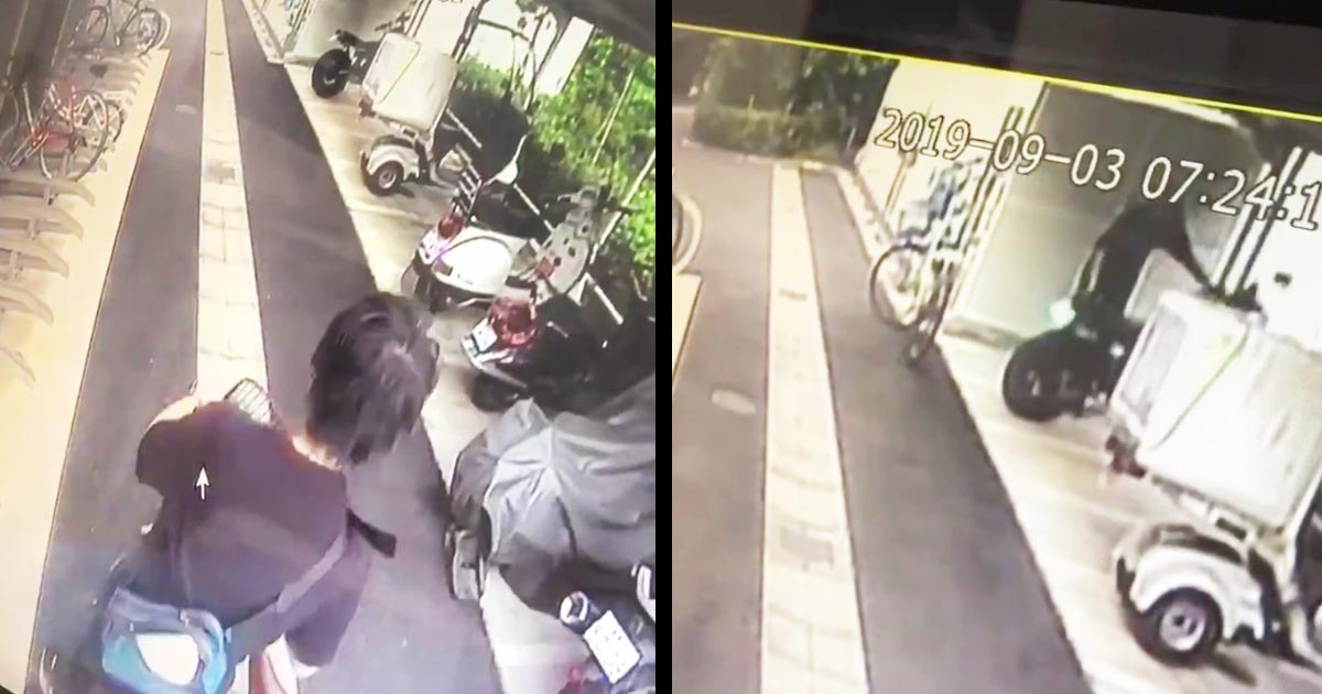 男性の駐輪場のバイクに対するひどすぎる行為が防犯カメラに映り物議!