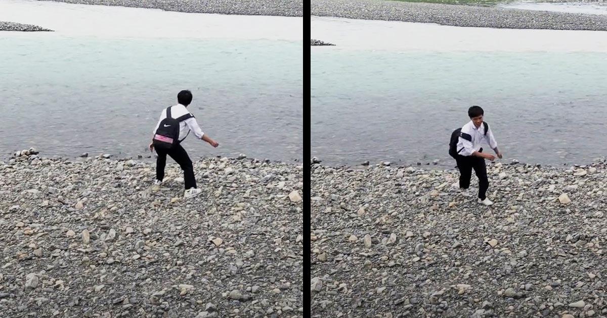 「これ見て5分くらい笑ってる」河原で水切りをしていた少年に待ち受けていた衝撃の展開が面白すぎると話題に笑!