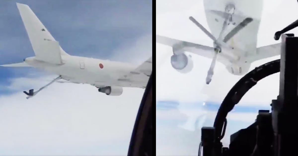 【神技】航空自衛隊が空中給油する動画を公開!時速750kmで飛行中、速度差時速1kmで小さな給油口に入れるテクニックに鳥肌!