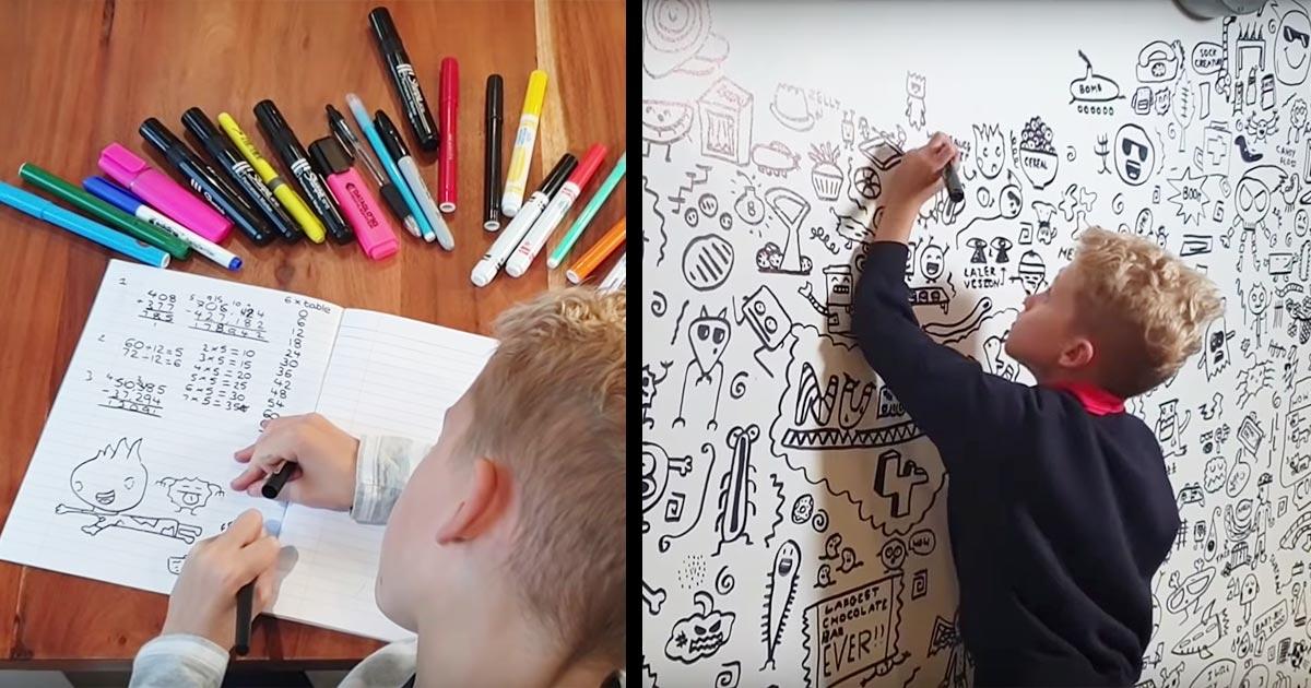 授業中に落書きばかりしていた問題児。しかし絵の才能を見抜いた先生のおかげでレストランの壁絵を描くアーティストになり話題に!