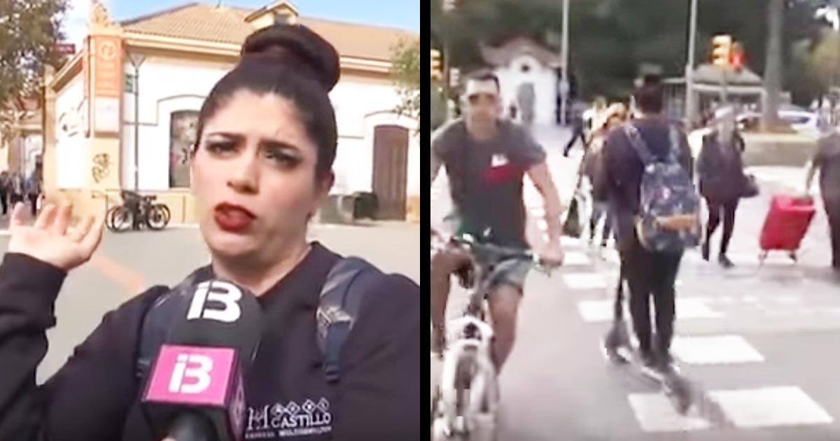 電動スクーターの交通ルールについて得意げに語っていた女性。その直後コント並みことになってしまう動画が話題に!