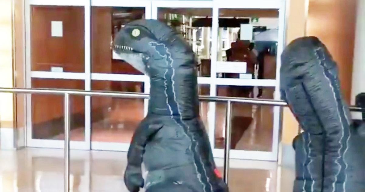 空港で祖母を驚かせようと恐竜コスプレで待っていた孫たち。しかし登場した祖母の方が何枚も上手で、見ていた客たちも爆笑で拍手!