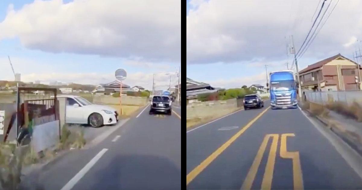 【神回避】60代女性の運転中、急にクラウンが飛び出し!反対車線の大型トラックに正面衝突しそうになるも神回避!