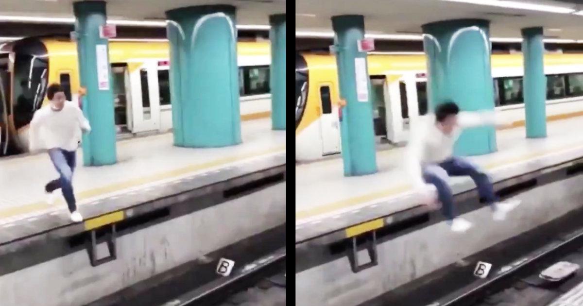 奈良市職員が隣のホームにジャンプするも失敗して線路に落ちてしまう動画が拡散され物議!