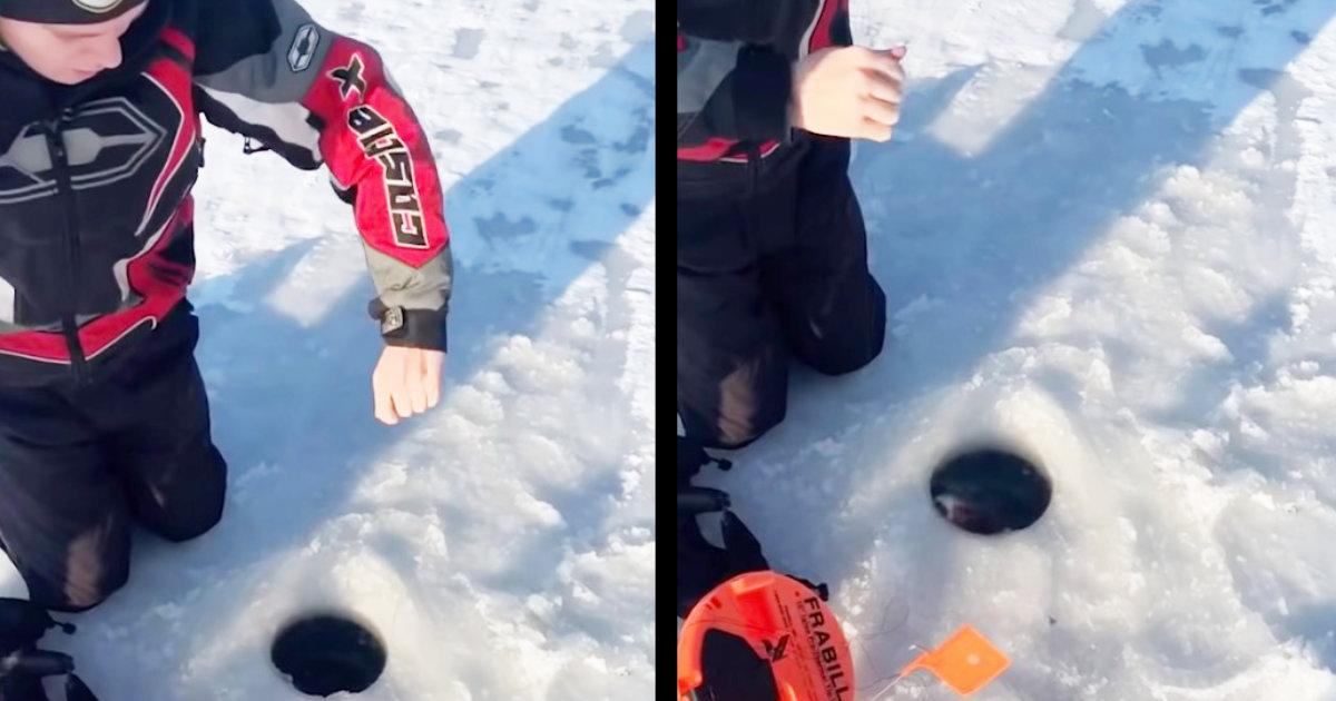 氷上で穴釣りをしていたら、可愛すぎる生き物が釣れてしまい話題に!