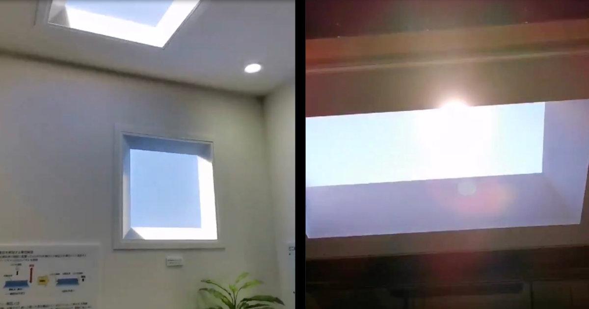 部屋の中に晴天が再現できる、三菱電機の「青空照明」がスゴいと話題に!言われなければ本物の空と区別不能!