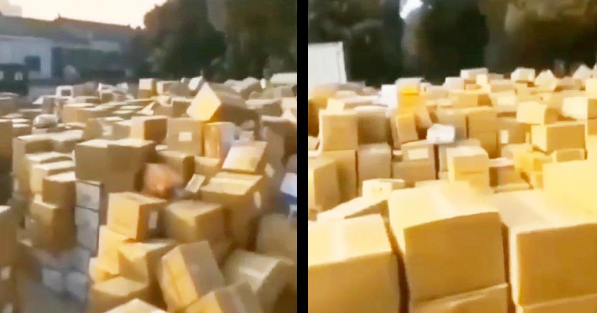 世界中から中国に送られた支援物資のダンボールが山積み放置で物議!横流しで金儲けする共産党幹部まで現れたと武漢市民が激怒の動画をSNSに投稿!