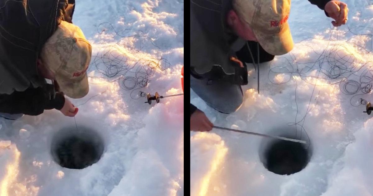 ワカサギかと思ったら。。湖の穴釣りでとんでもない大物の魚が釣り上げられる動画が話題に!