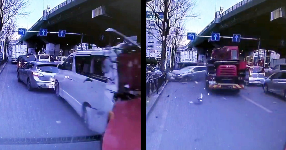 【大阪】ワゴン車を串刺しにしたクレーン車がノーブレーキで暴走!アクセルを踏み続けて走り抜ける!