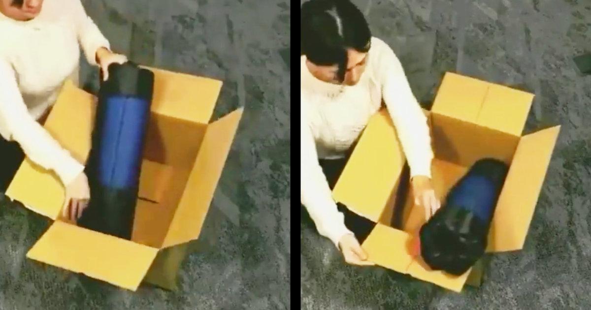 目から鱗、、サイズの小さい箱に大きい荷物をすっぽり収める技が凄い!【ライフハック】