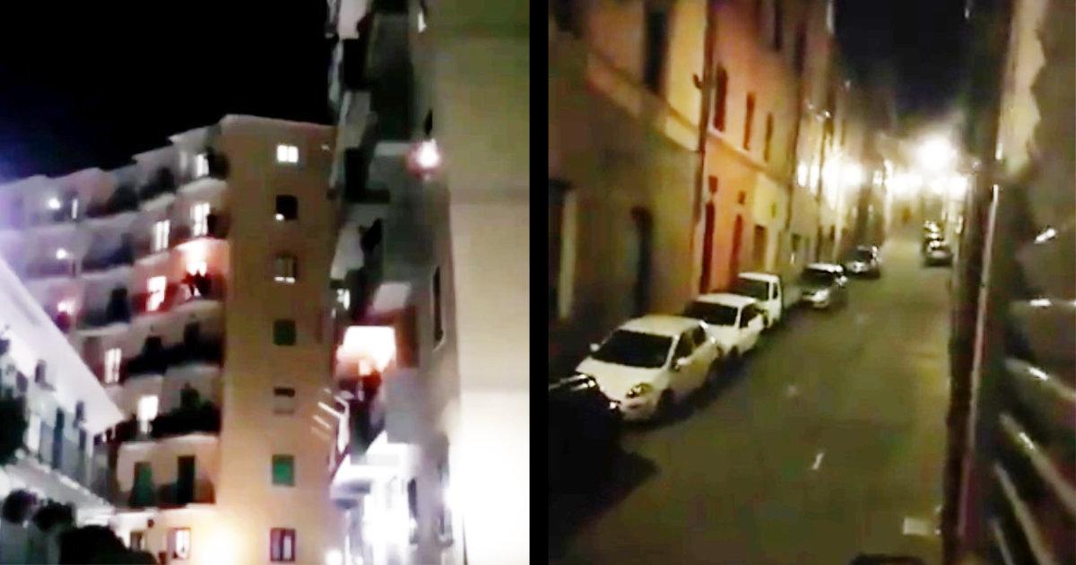 封鎖されたイタリアの人気のない街に響き渡る大合唱。こんな状況でも人々は自分たちの街を愛する歌を歌う!
