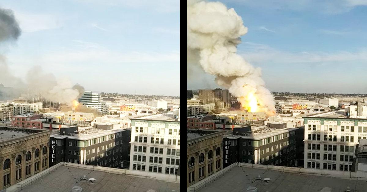 【速報】ロサンゼルスの複数のビルで火災!動画には爆発の瞬間の様子!200人以上の消防士が駆けつけ10人以上が負傷と報道!