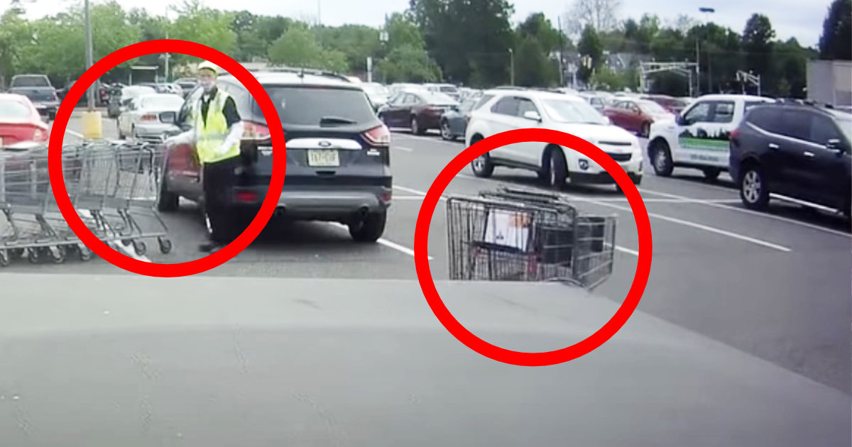 ショッピングカートが車にぶつかるのを止めようとするも、コントみたいなことになってしまい話題に笑