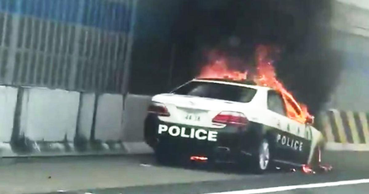【兵庫】高速道路でパトカーが燃えていたと話題に!