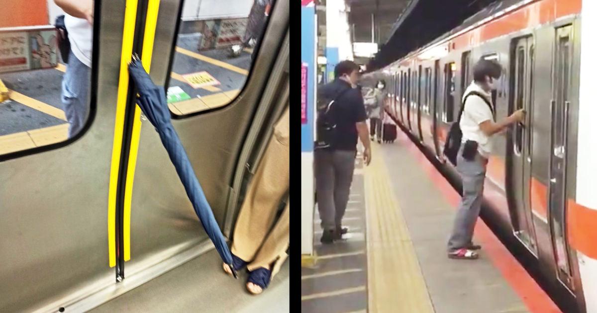 「電車乗ってたらケツ刺されそうになった」傘で駆け込み乗車の迷惑男が偶然車内外から撮影されていて話題に!