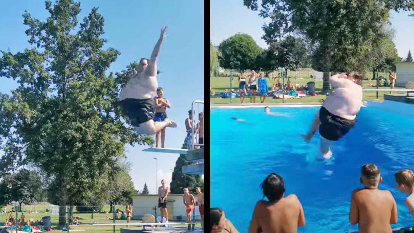 太った男性がプールに飛び込んだら、思った以上にヤバいことになって世界中で話題に!「この場にいたら拍手を送っただろう」などの声!