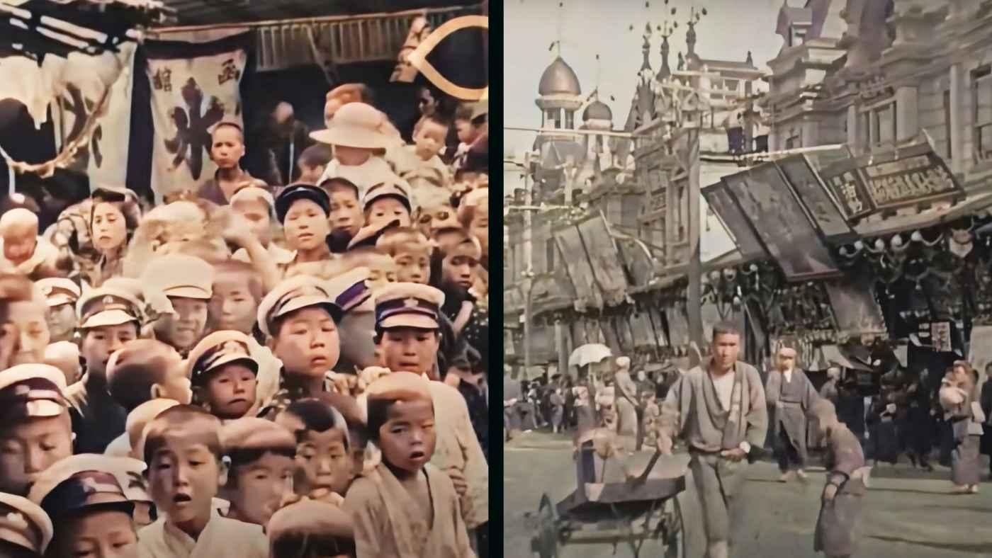 【鳥肌】AIで約100年前の日本の東京の動画を4K高画質カラー化した動画の臨場感がスゴいと話題に!