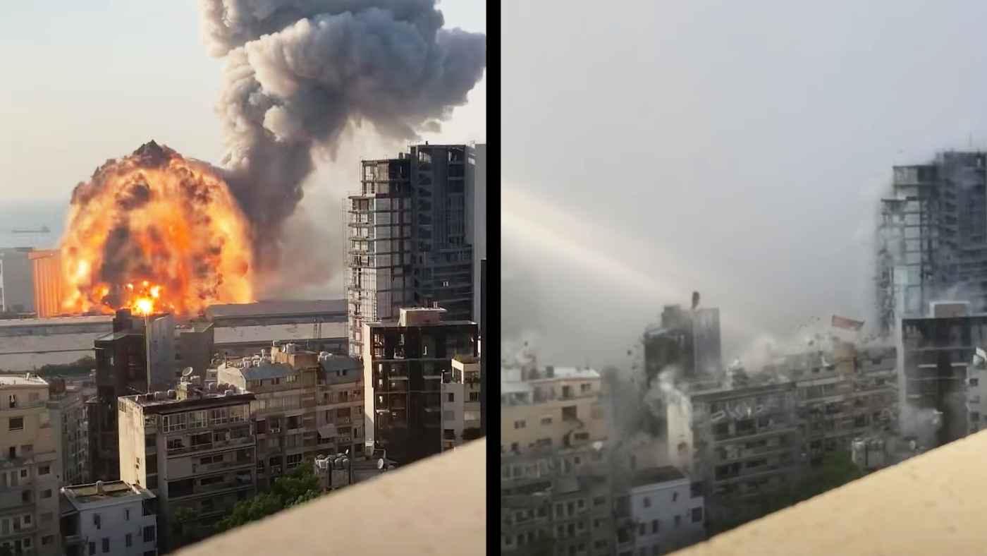 レバノンの大爆発をわずか850メートルの位置からスローモーション撮影していた人がいて話題に!