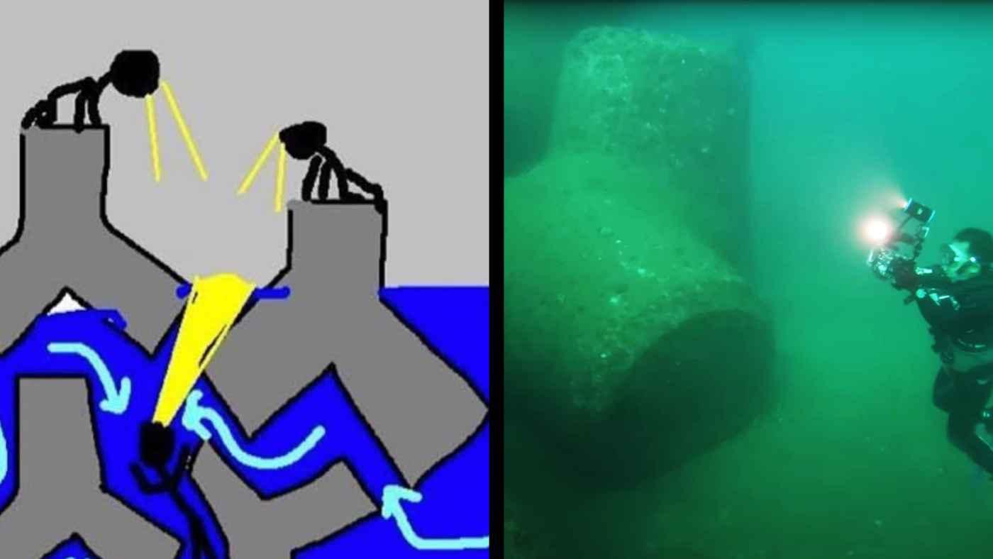 「テトラポッドの中は海流が複雑で飲み込まれたら遺体回収すらできなくなる」危険性がよく分かる画像が話題に!