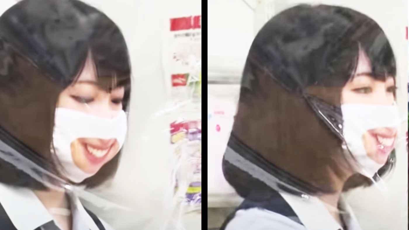 店員さんに笑った口元がプリントされた「スマイルマスク」を着けさせるお店が登場!