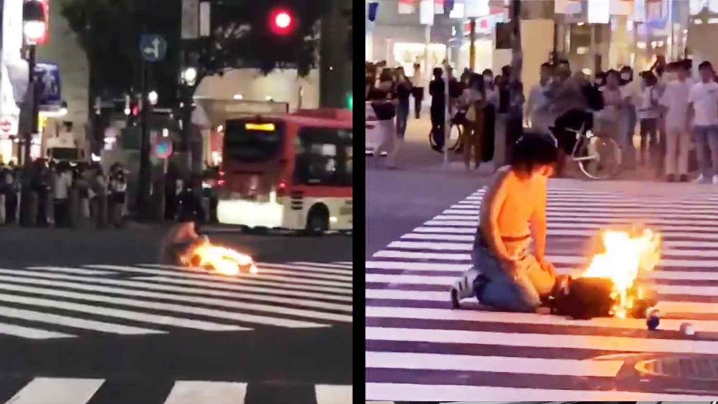 渋谷のスクランブル交差点で火をつける不審者が現れ、警察や消防などが出動し騒然!