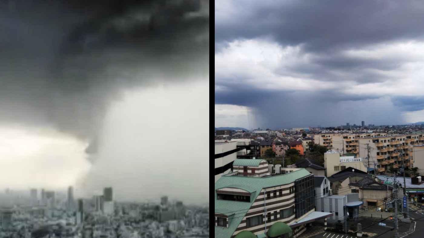 本日の大阪の巨大雨柱のタイムラプス動画が凄い!「バケツをひっくり返したよう」とはまさにこのこと!