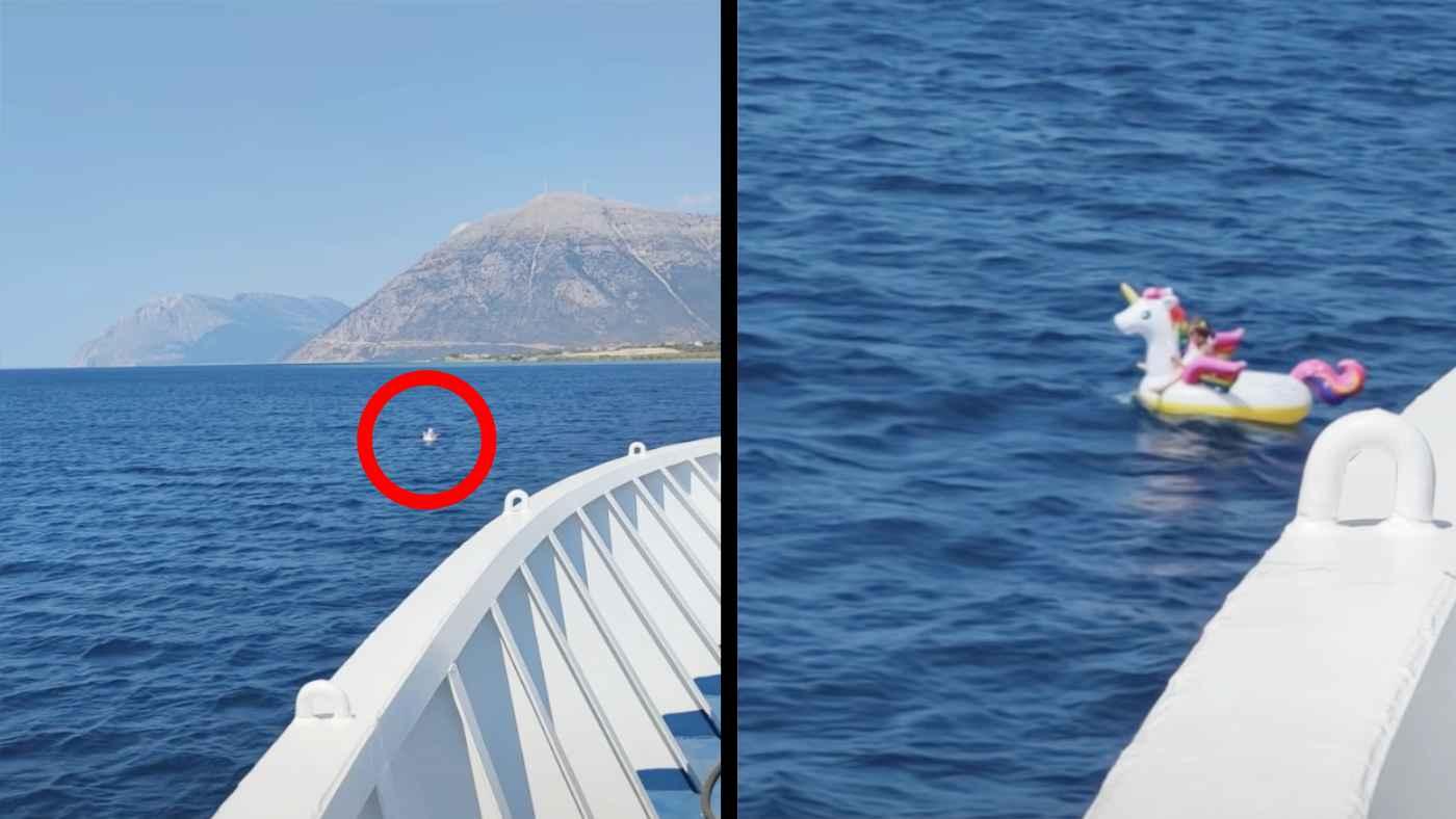 大海原に漂う浮き輪。しかしよく見ると小さな女の子が乗っていた!