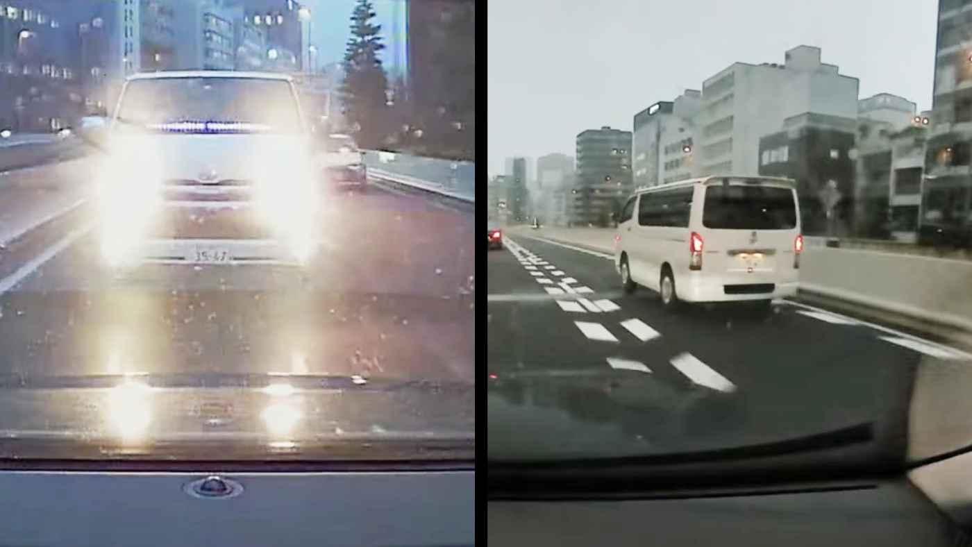 路面が濡れた高速であおり運転するハイエース。道を譲ったら猛スピードで追い抜き、自業自得すぎることになってしまう!