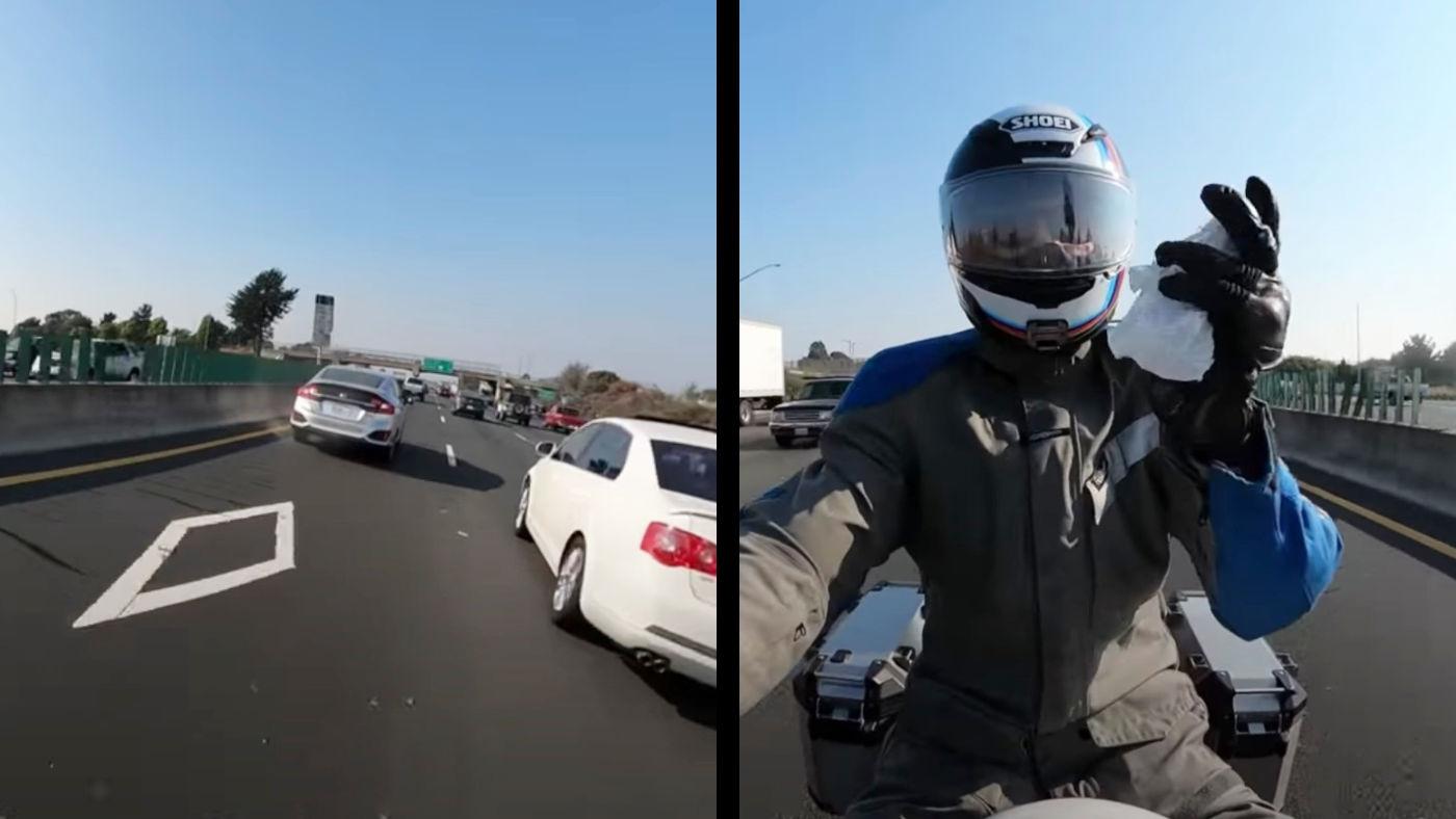 【神業】「市民の義務を果たしました」高速道路で投げ捨てられたゴミをキャッチするバイカーがかっこいいと話題に!