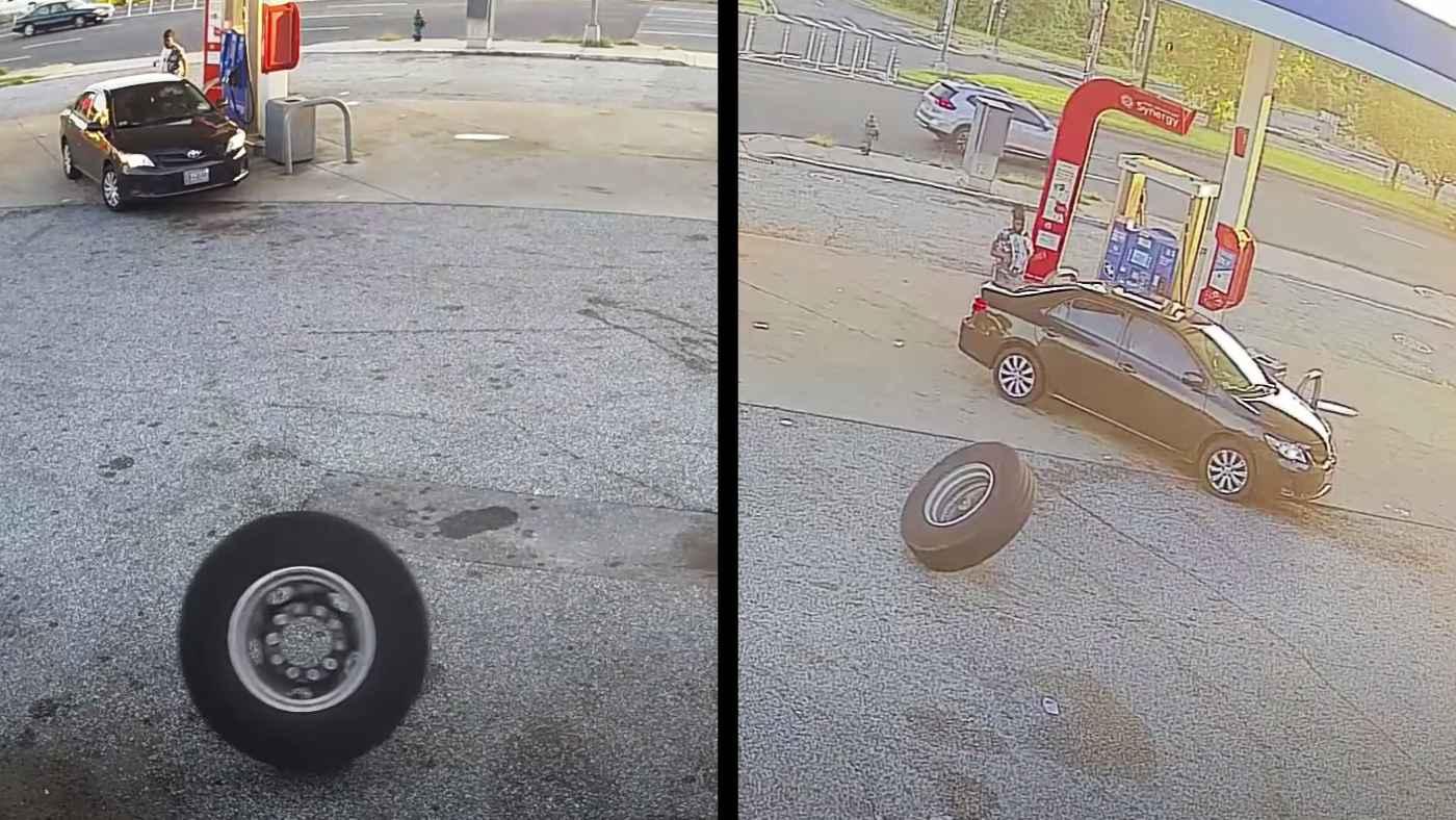 道路からゆっくりと転がってきたトラックのタイヤ。低速なのに威力が凄すぎる!