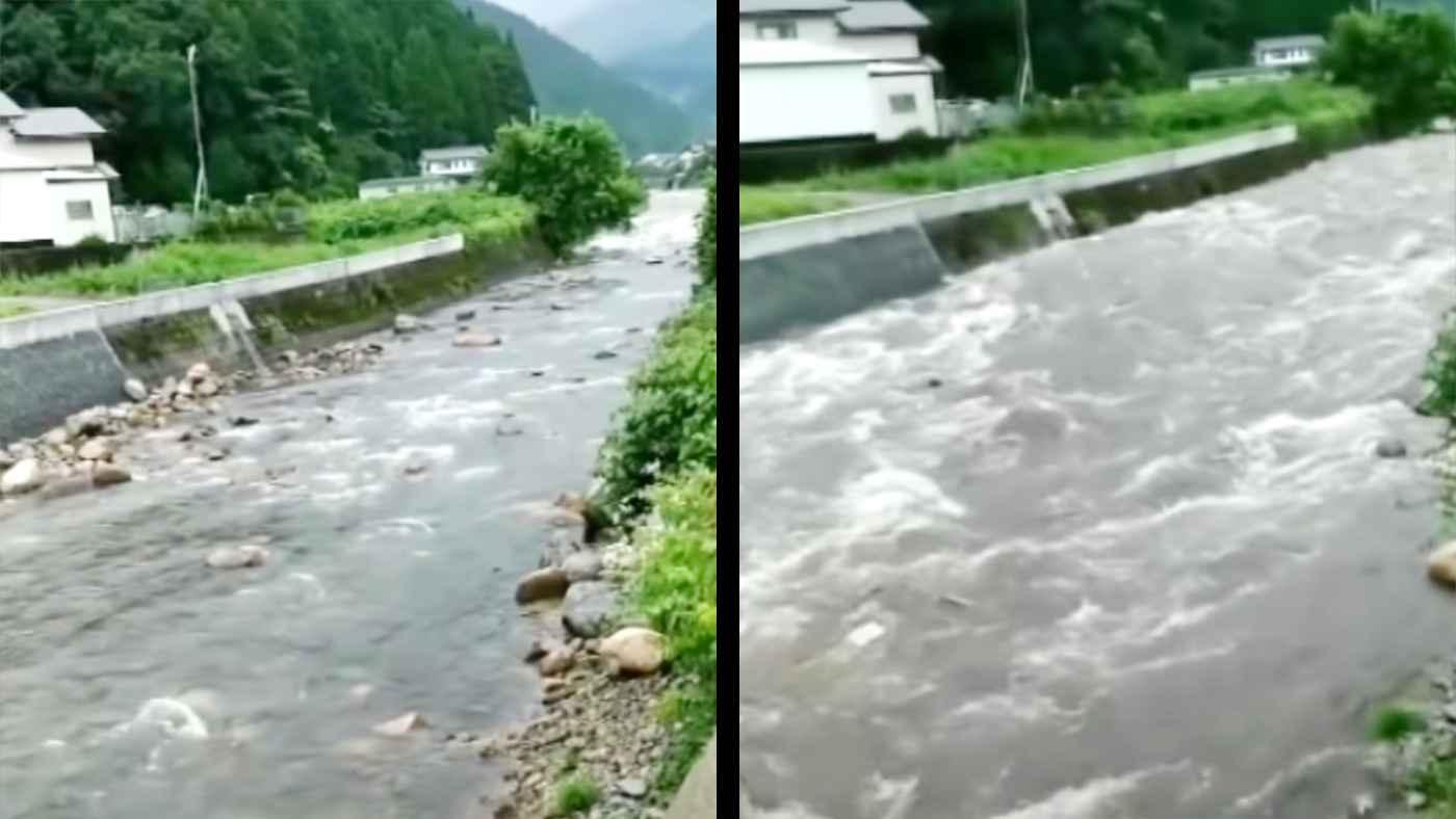 【兵庫】雨も降っていないのに川がたった10秒で濁流になる様子を捉えた動画がヤバい!