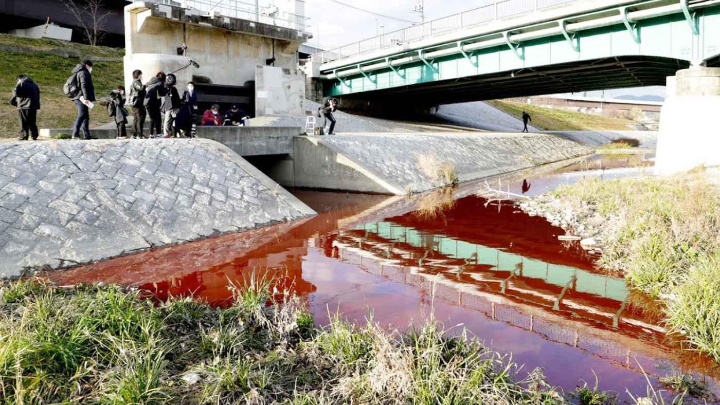 【京都】鴨川が真っ赤に染まり「怖い」「何か良くないことの前触れか」など話題に!昨年は青に染まっていたことも判明!