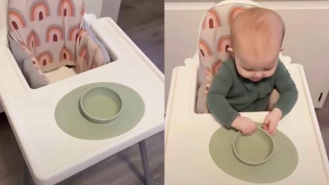 【爆笑】赤ちゃん用の安全に配慮して設計されたお皿。しかしこの子には全く意味がなかったと話題に!